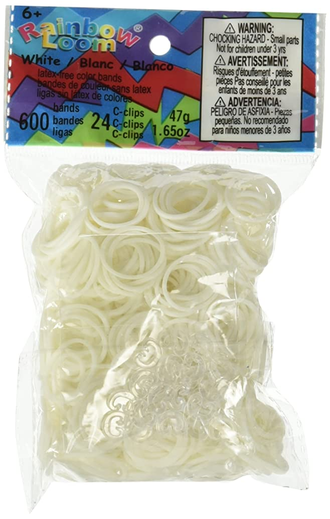 Rainbow Loom Official White Rubber Bands Refill 600 Count + 24 C-Clips