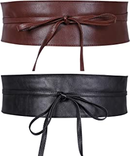 Women Obi Style Waist Belt Soft Faux Leather Wide Wrap Around Bowknot Ladies Waistband Belts 2 Packs by WHIPPY