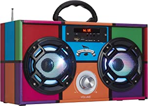 Wireless Express - Mini Boombox with LED Speakers – Retro Bluetooth Speaker w/Enhanced FM Radio - Perfect for Home and Out...