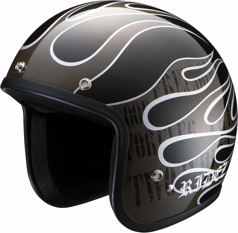 RIDEZ Rise Jet Helmet LX FLAMEZ XL Size (6162cm) Black Gun Metal