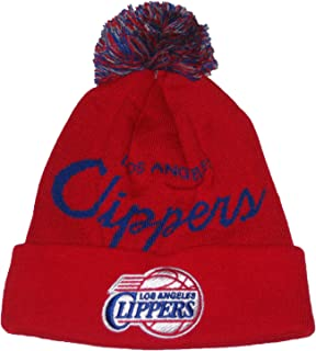 Mitchell & Ness Los Angeles Clippers (TS349) Jacquard Banner Cuffed Ball Top Knit Beanie Hat