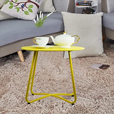 Patio Side Table Outdoor Small Round Metal Side Table Portable Coffee Table Anti-Rust Steel Coffee Table for Garden,Modern We