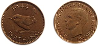 1944 GB George VI British farthing coin for collectors / Almost Uncirculated / AU