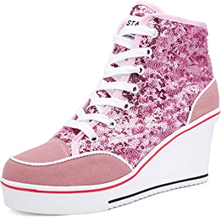 Catata Women's High Heel Lace up Wedges Shoes Suede Sequins Fashion Sneakers