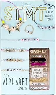 STMT DIY Alphabet Jewelry Set by Horizon Group USA, Design 10 Premium Personalized Vsco Girl Necklaces, Bracelets Or Rings. Beads, Chains, Strings & Tools Included, Multicolored