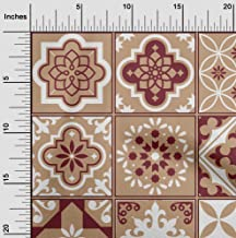 oneOone Velvet Light Brown Fabric Floral & Tiles Moroccan Sewing Craft Projects Fabric Prints by Yard 58 Inch Wide