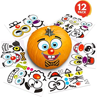 ArtCreativity Halloween Pumpkin Decorating Stickers - 12 Large Sheets - Jack-o-Lantern Decoration Kit - 26 Total Face Stickers - Cute Halloween Decor Idea - Treats, Gifts, and Crafts for Kids- 6
