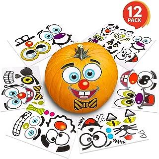 ArtCreativity Halloween Pumpkin Decorating Stickers (12 Sheets) | Jack-o-Lantern Decoration Kit | 26 Total Face Stickers | Cute Halloween Decor Idea | Treats, Gifts, and Crafts for Kids