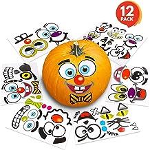 ArtCreativity Halloween Pumpkin Decorating Stickers - 12 Sheets - Jack-o-Lantern Decoration Kit - 26 Total Face Stickers - Cute Halloween Decor Idea - Treats, Gifts, and Crafts for Kids- 3