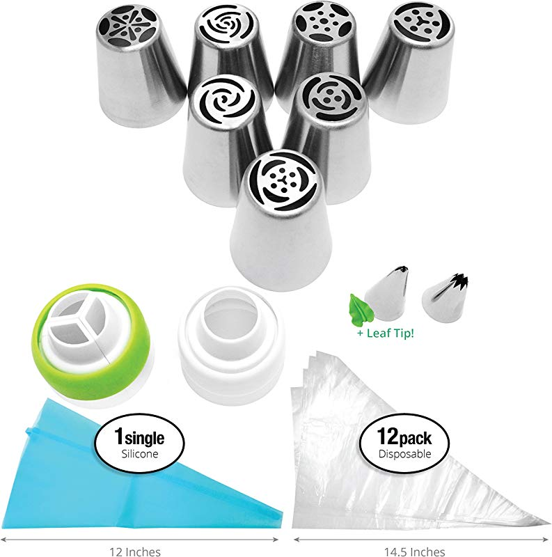 PROFESSIONAL Russian Piping Tips Set COMPLETE With LEAF Tip 24 Pieces For Cake And Cupcake Icing Decorating Buttercream RECIPE How To VIDEOS EASY Cleaning Stainless Steel BONUS Cake Tip