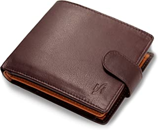 STARHIDE Mens RFID Protection Luxury Soft Genuine Leather Trifold Wallet Purse Coin Pouch (Brown/Tan) - 1075