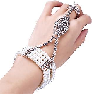 BABEYOND 1920s Flapper Bracelet Ring Set Austrian Crystals Imitation Pearl