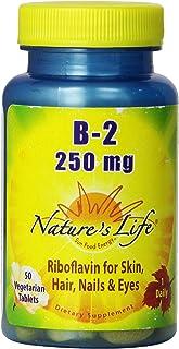 Nature's Life Vitamin B-2, 250 | Riboflavin for Skin, Hair, Nails and Metabolism Support | Non-GMO, 50 VegCaps, 50 Serv.