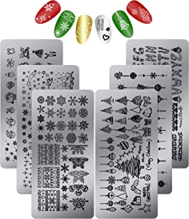 6 Pieces Nail Stamp Plates Nail Art Stamping Templates Snowman Snowflake Pumpkin Bat Pattern Plates for DIY Nail Decoration (Christmas Style with 26 Letters)