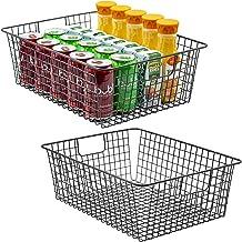 Sorbus Farmhouse Storage Bin Baskets with Handles, Stackable Wire Style Basket Organizer Home Décor, Kitchen Pantry, Bathr...