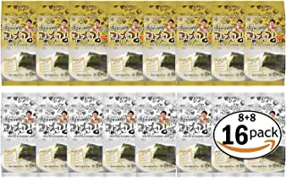 16 Pack / Kim Nori Gold Kim Roasted Seasoned Seaweed Snacks 4g ( 0.14 oz ) (16 Pack) 8 Pack of Conventional & 8 Pack of Green Laver Type / 김, のり, 海苔, 紫菜