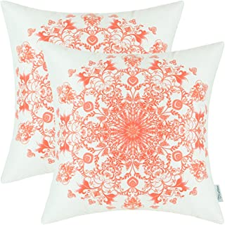 CaliTime Pack of 2 Cozy Fleece Throw Pillow Cases Covers for Couch Bed Sofa Vintage Mandala Snowflake Floral 18 X 18 Inches Coral