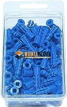 Premium Quality Blue Ribbed Plastic Anchors, 100 Pack (#10-12 x 1