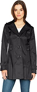 Women's Single-Breasted Belted Trench Coat with Hood