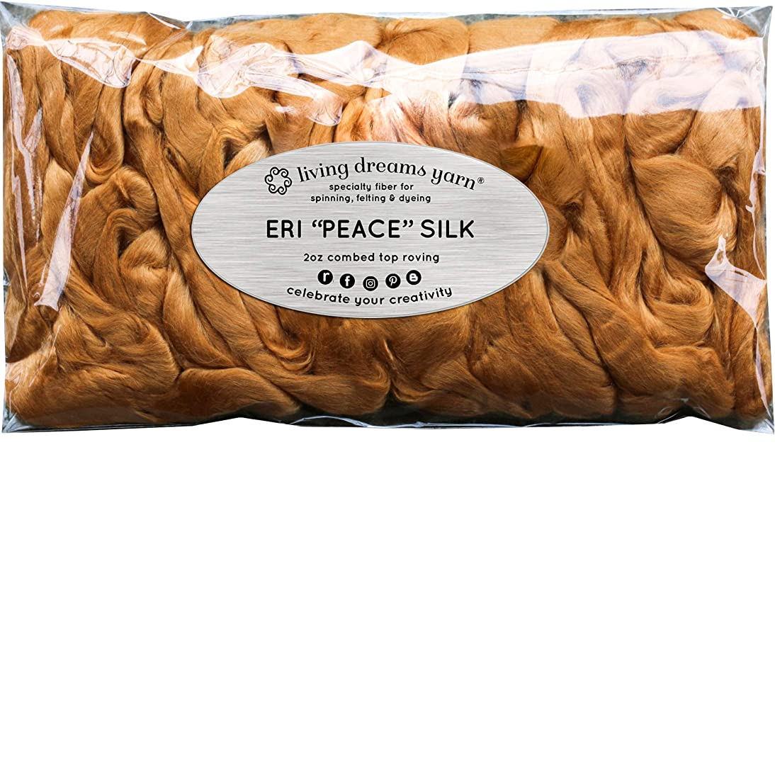 Red Eri Peace Silk Fiber for Soap Making, Spinning, Blending, Felting, Dyeing, and Paper Making. Natural Color Combed Top.