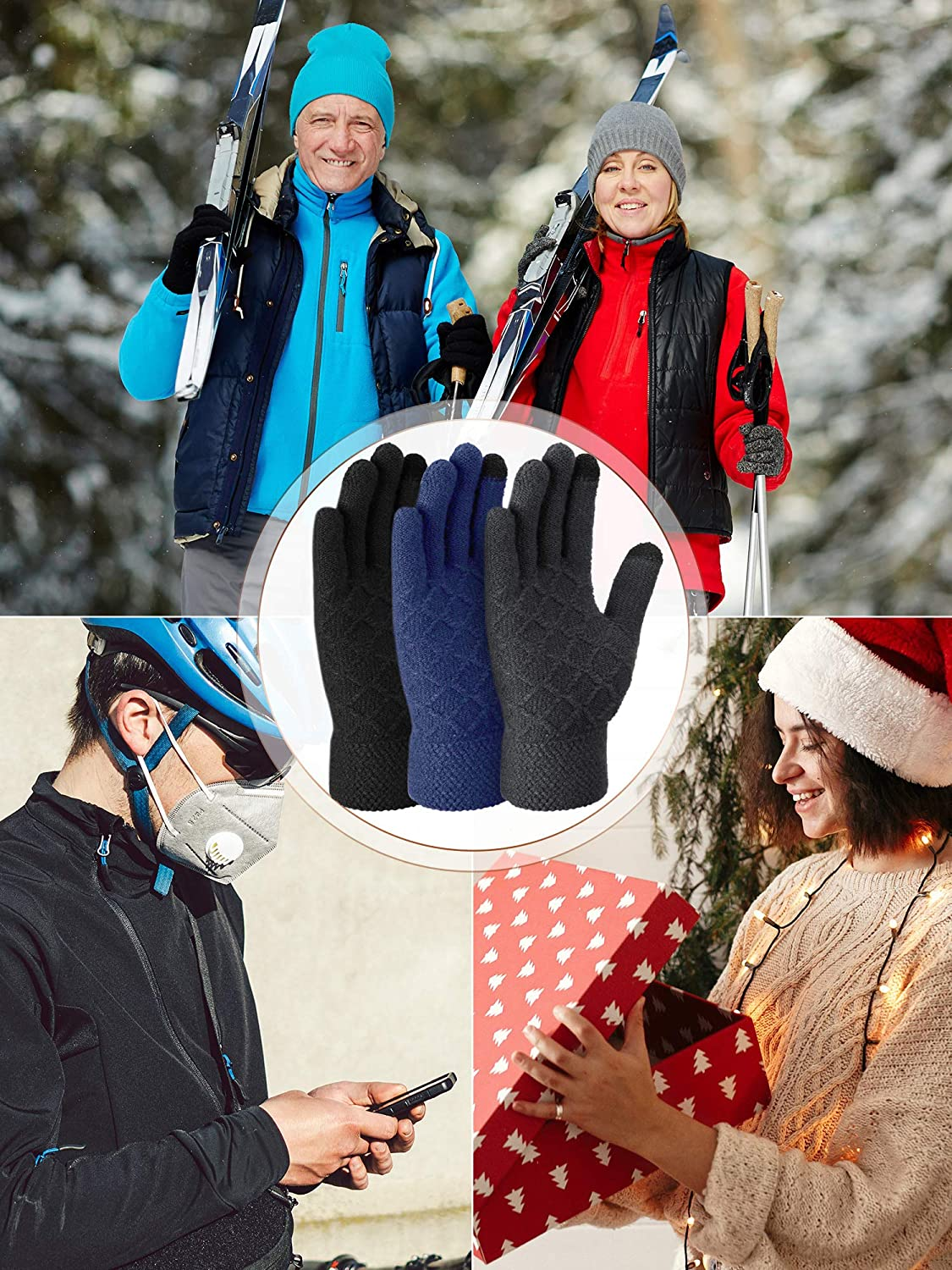 4 Pairs Winter Touchscreen Gloves Unisex Knitted Warm Gloves Thermal Full Finger Mittens with Thickened Cuff for Adult Texting Driving