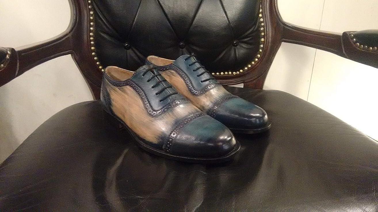 Handmade Blue Patina Oxfords For Men Custom Made Shoes for Men