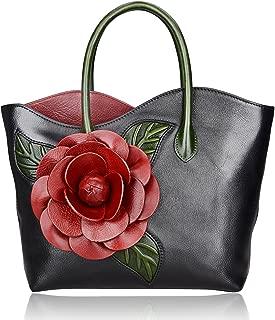 PIJUSHI Designer Genuine Leather Purses and Handbags for Women Satchel Flower Handbag