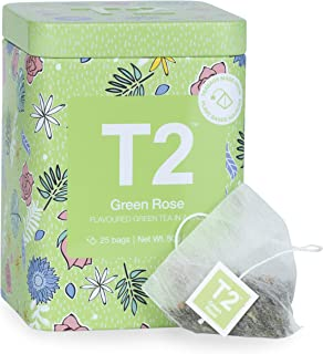 T2 Tea T2 Tea Green Rose 25 Tea Bags Tin - Vibrant Green Tea Blended with Rose Petals & Tropical Fruit - Enjoy Hot Or Ice...