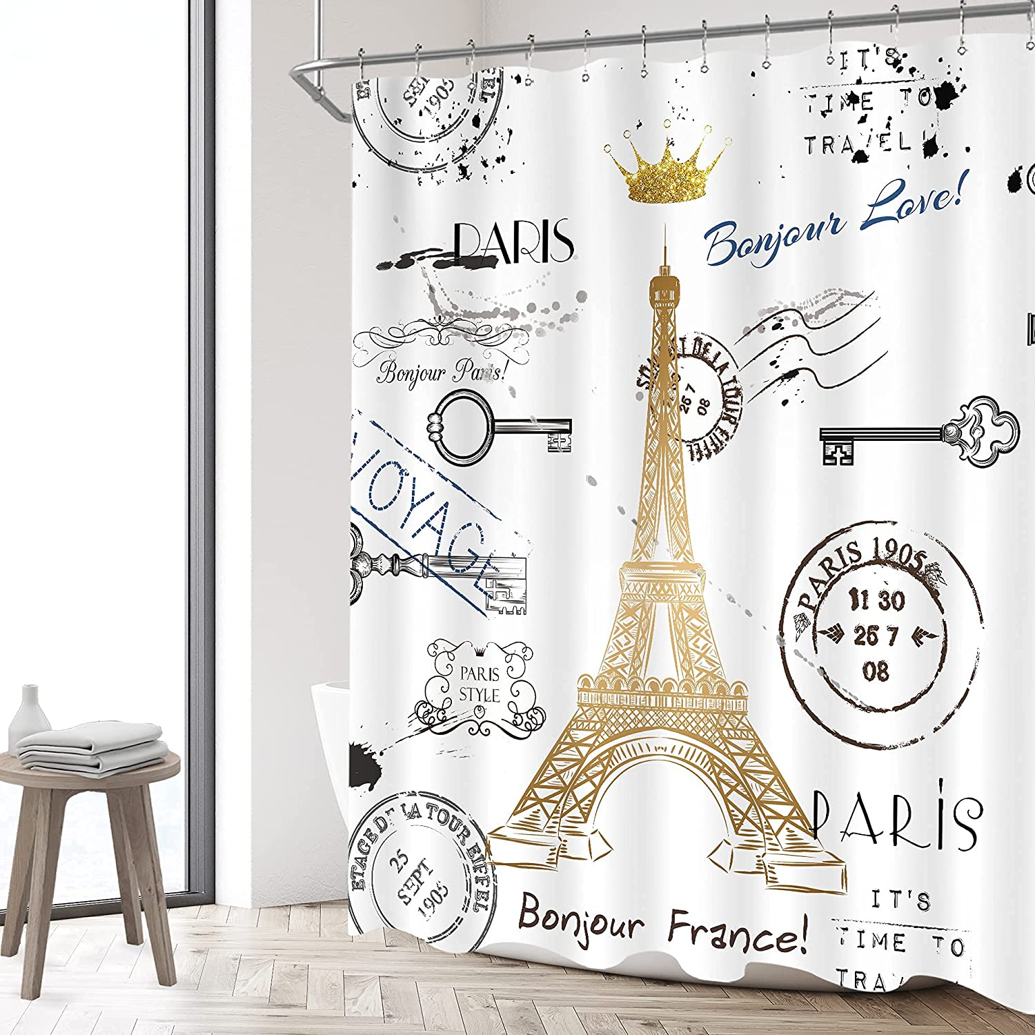 Homewelle Pairs Eiffel Tower Shower Curtain Neutral French 60Wx72H Golden Lettering European France Crown Post Card Retro Stamp Art Modern 12 Pack Hooks Waterproof Polyester Fabric Bathroom Bathtub