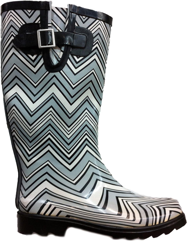 Own shoes Womens Rain Boots Chevron Zig Zag Wellies Flat Wellington Knee High Festival