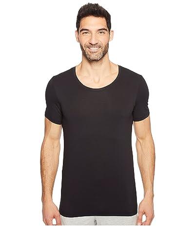 Hanro Cotton Superior Short Sleeve Crew Neck Shirt (Black) Men