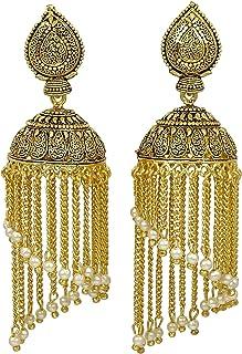 Banithani Traditional Indian Wedding Party Goldtone Imitation Jhumka Earrings Women Jewelry
