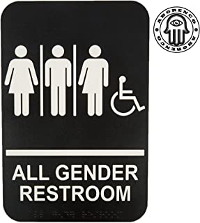 ADA Handicap Accessible All Gender Restroom Sign with Braille, 9