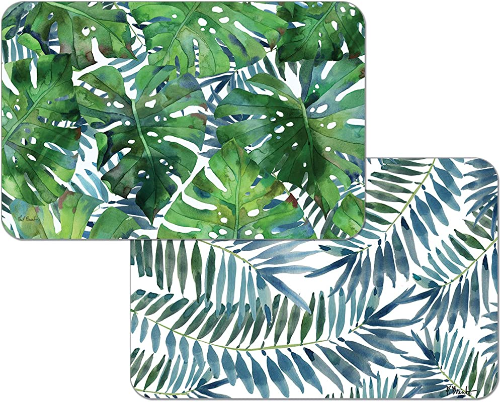 Highland Home Counterart Reversible Wipe Clean Set Of 4 Placemats Palms