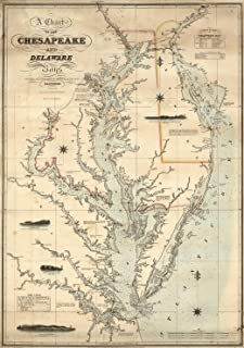 Map Poster - A Chart of the Chesapeake And Delaware Bays - 24