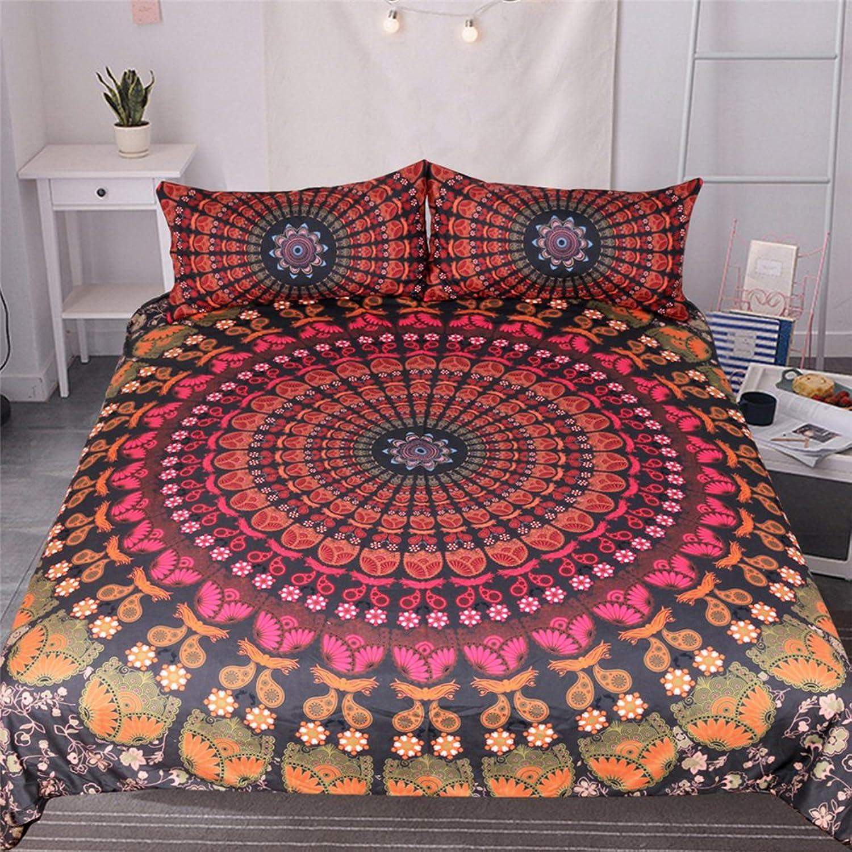 Bedding Home Textile Bohemian Quilt Cover 3 Piece Set 3D Three Piece Set,Twin173cmx218cm