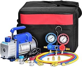 Kwasyo 3CFM,1/4HP Bomba de Vacío, 85 litros/min, Juego de Manómetros Diagnósticos, para la reparación de Equipos de Aire Acondicionado y refrigeración Ideal para R22, R134a, R410A, R407C