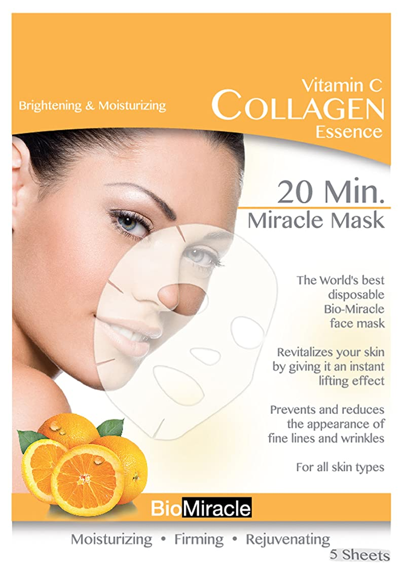 Bio-Miracle Anti-Aging and Moisturizing Face Mask, Vitamin C, 5 Count
