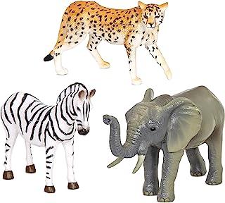 Terra by Battat – Jungle Animals (Zebra, Elephant & Cheetah) – Jungle Animal Toys with Zebra Toy For Kids 3+ Pc)