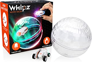 Whipz Micro Racers Mini Cars - Micro Pocket Racer LED Light Up Glow in The Dark Car Spinner Girls or Boys Toys, Keychain Cars w/ Ball for Kids