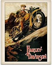 Old Harley Davidson Poster - 11x14 Unframed Art Print - Great Gift Under $15 for Bikers