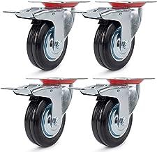 4 stuks transportwielen, zwenkwielen, 75 mm, zware wielen met rem, meubelwielen, apparaatwielen, verzinkt plaatstaal, zwar...