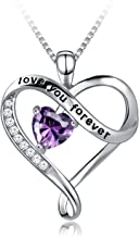 925 Sterling Silver Love You Forever Heart Pendant Necklace for Women Mother Wife at Birthday Christmas