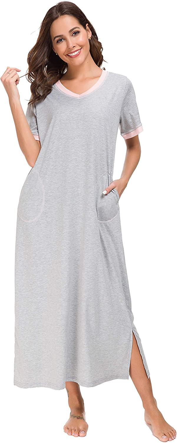 Supermamas Long Nightgown Womens Cotton Knit Short Sleeve Nightshirt with Pockets SXXL