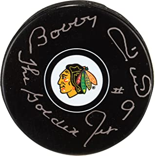 """Bobby Hull Chicago Blackhawks Autographed Team Logo Puck with""""The Golden Jet"""" Inscription - Fanatics Authentic Certified"""