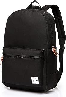 School Backpack,Vaschy Unisex Slim Lightweight Water-resistant Backpack for Men Women College Schoolbag Travel Bookbag Black