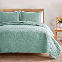 VEEYOO Bedspread Quilt Set - Soft Microfiber Lightweight Coverlet Quilt Set for All Seasons, Bedspreads Full/Queen Size (1 Quilt, 2 Pillow Shams), Turquoise