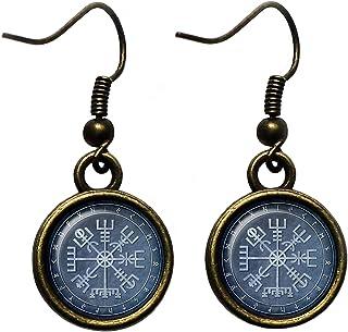 Viking Runes Elder Futhark Rune Circle Vegvisir Viking Compass Antique Bronze Earrings