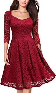 MISSMAY Women's Vintage Floral Lace Half Sleeve V Neck Cocktail Party Swing Dress