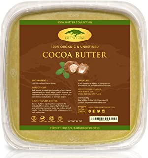 Unrefined Organic Cocoa Butter Raw/Food Grade Perfect for Skin Care, Keto Snacks, Lip Balm, Body Lotion, Stretch Mark Cream, Bar Soap, Body Butter, Hair Care, Cacao Butter Soap Making Base (32 oz)